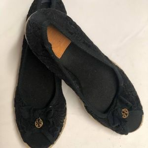 Tory Burch Shoes - Tory Burch Black Lace Wedge Heel Espadrille Mismat